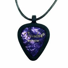 GUITAR PICK Necklace by Pickbandz PICK HOLDER in Black w/ Purple Fender Pick!