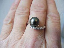 Edler ,großer Ring__925 Silber__mit dunkler Perle und kleinen Steinen___Gr.66,5