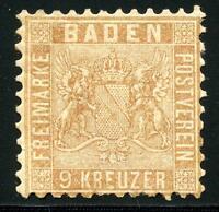 GERMANY STATES BADEN SCOTT# 17b MICHEL# 15b MINT HINGED REGUMMED AS SHOWN