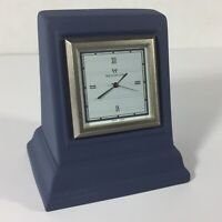 Wedgwood Interiors Blue Jasperware Small Desk Clock Square Japan Movement Great