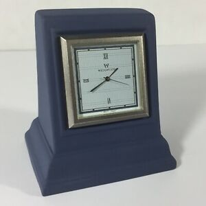 Wedgwood Interiors Blue Jasperware Small Desk Clock Square Japan Movement Great
