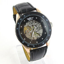 Winner Automatic Stainless Steel Skeleton Mechanical Watch PU Leather Strap