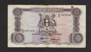 10 SHILLINGS VG BANKNOTE FROM UGANDA 1966 PICK-2a