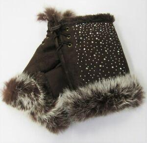 Womens Brown Fingerless Texting Winter Gloves Fur Trim Rhinestone Sparkle Bling