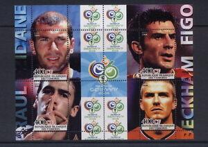 Football Players Raul Dane Beckham Figo m/s Comores 2004 MNH #M0761