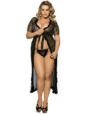 Sexy Plus Size Black Gown Robe Floral Belted Nightwear Gold Lace UK 14-20 C91