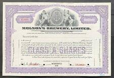MOLSON'S BREWERY, LTD Stock SPECIMEN ca 1940s. John Molson Est. 1786 Montreal