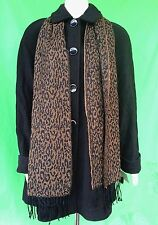 NWT Basic Editions women 60% wool blend outwear coat with Leopard scarf  size--M