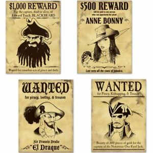 "Pirate Wanted Sign Cutouts 4 Pack 15"" Pirate Birthday Party Decor"