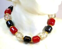 Vintage Necklace Black Cherry Red Clear Lucite Bead Statement