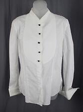 Giorgio Armani Women's White Long Sleeve Bib Button Down Shirt Top Shirt Top 8