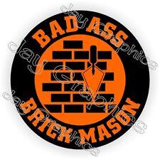 Bad Ass Brick Mason Motorcycle Helmet Sticker ~ Hard Hat Decal | Cement Mixer