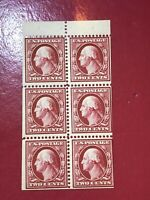US SCOTT Cat # 375a MH OG Booklet Pane of 6 Stamps CV $125 FREE S&H Small THINS