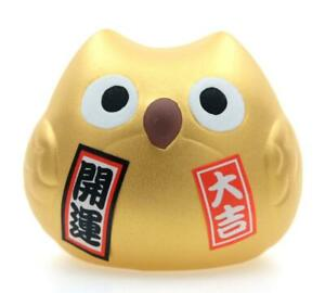 Maneki Neko Feng Shui Lucky Gold coloured OWL for good Fortune with Money