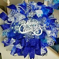 Handmade Deco Mesh Blue & Silver Christmas Winter Snowflake Wreath & Door Decor