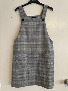 Size 12 Pinafore Check Tartan Mini Dungaree Dress Grey White Blue Yellow Vgc