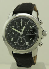 Sinn Ref 103.050 Steel 40mm Auto Black Dial Day-Date Pilot Chronograph On Strap