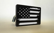 AMERICAN FLAG Billet ALUMINUM Trailer Tow Hitch Cover SUV Truck RV BLACK