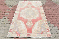 Turkish Rug 56''x97'' Vintage Light Muted Color Primitive Wool Carpet 145x247cm