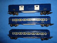 2 American Flyer Pre-war O Gauge #495 Coach Car's & 1 #494 Baggage Car. Blue