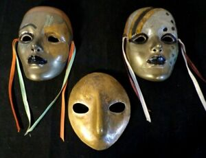 Vtg 3 Hand Crafted Hand Painted Venetian Wall Masks Mardi Gras Style From Italy