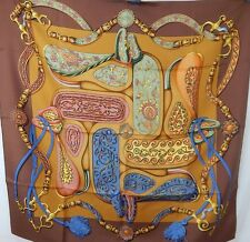 Hermès Brown Multi Silk Festival Scarf By Henri d'Origny 1992 Equestrian 90x90cm