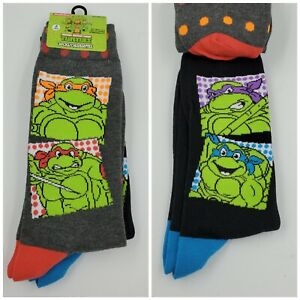 2 Pair Ninja Turtles Dress Socks, Adult Shoe Size 6-12.5, Gift Crew TMNT (L14) M