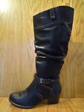 Tamaris BOOTS Size 4 Black Knee High Ladies Long Leg Ruched Heeled Boot