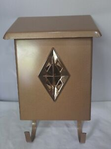 Vintage Banco Mid Century Modern Metal Wall Mount Mailbox  Gold MCM no box