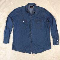 Mens PLAINS Western Denim Long Sleeve Shirt Blue jean LARGE Pearl Snap