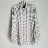 David Donahue Mens Plaid Button Front Long Sleeve Dress Shirt Size 16 34/35 X308
