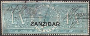 Zanzibar 1892 QV Revenue Overprint on India 4a Green Used BF2 with large thin