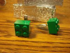 GREEN Genuine LEGO Cufflinks #1 Pair (2) Hamilton Silver Plate back w/gift box