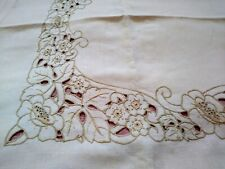"Art Nouveau Embroidered Cutwork Madeira Style Floral Linen Tablecloth 65""x52"""
