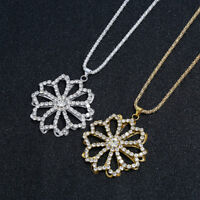 Christmas Crystal Snowflake Silver Charm Chain Necklace Pendant Jewelry Gift