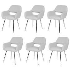 6x Esszimmerstuhl MCW-A50, Stuhl Lehnstuhl, Retro, Kunstleder weiß