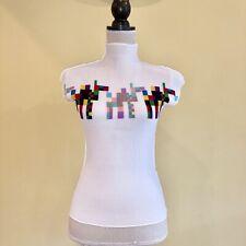 "ISSEI MIYAKE ""me"" pleats LEGO Horses Design Tops White Near Mint I7529I7K"