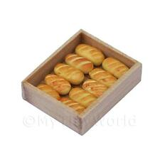 Dolls House Miniature Bread Rolls In A Wooden Bakers Tray