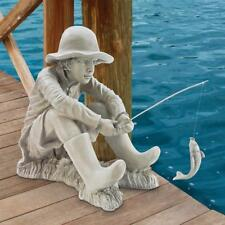 Gone Fishing Fisherman Boy With Faux Antique Stone Finish Garden Statue