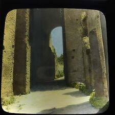 Antique Magic Lantern Glass Slide Photo Aisle In Coliseum Rome Italy Color