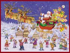 Santa volando en trineo tarjeta de Navidad Calendario de Adviento con envolvente