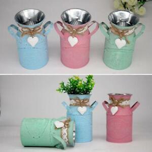 Vintage Shabby Flower Vase Tin Pitcher Jug Metal Wedding Home Decor KJ