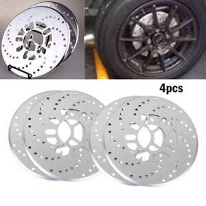 4Pcs Silver Tone Aluminum Cross Drilled 8Universal Car Disc Brake Rotor Covers