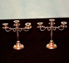 Miniature Sterling Silver Candle Candelabra Dollhouse PAIR  (2)