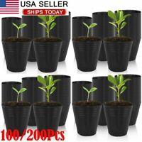 100/200 Round Nursery Plastic Flower Pots for Plants Seedlings Black 2.6-3.5in