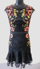 Karen Millen Women's Embroidered Lace Peplum Dress HD3 Black/Multi Size US:6 NWT