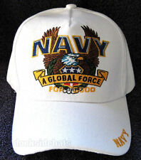 "U.S. NAVY "" A GLOBAL FORCE "" VETERAN Cap/Hat White Military*FREE SHIPPING*"