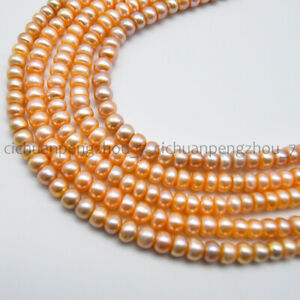 7-8mm Pink Natural Freshwater Cultured Baroque Pearl Rondelle Loose Beads 15''