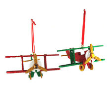 Wooden North Pole Plane Christmas Ornaments, 5-1/2-Inch, 2-Piece