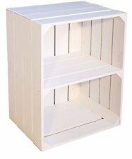 1 x NEUE weiße Schuhregal Kiste  mit Mittelbrett  QUER Obstkisten  Weinkiste